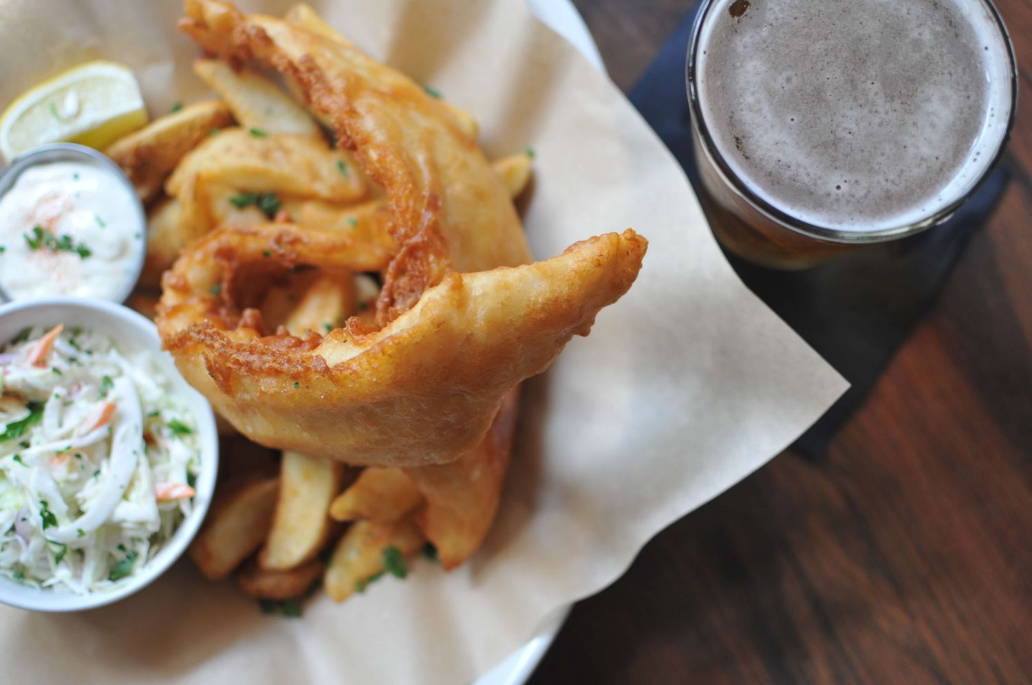 fish and chips and beer